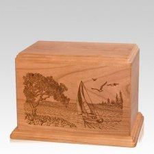 Sail Away Individual Cherry Wood Urn
