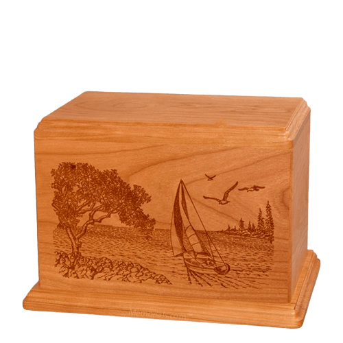 Sail Away Individual Mahogany Wood Urn