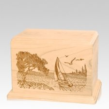 Sail Away Individual Maple Wood Urn