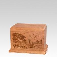 Sail Away Small Cherry Wood Urn