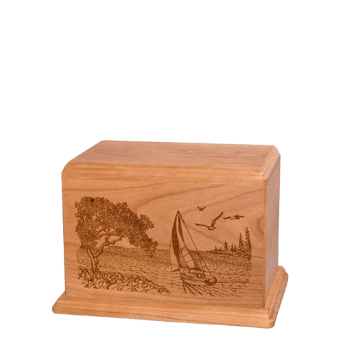 Sail Away Small Cherry Wood Urn