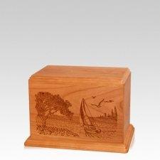 Sail Away Small Mahogany Wood Urn