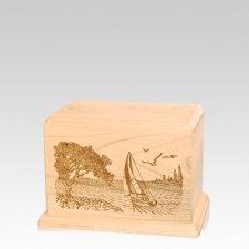 Sail Away Small Maple Wood Urn