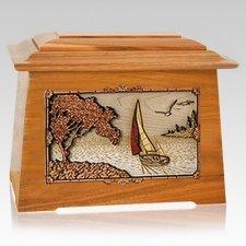 Sailboat Mahogany Aristocrat Cremation Urn