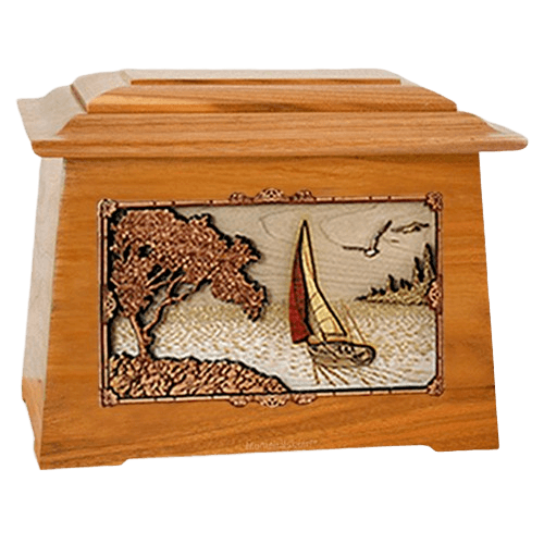 Sailboat Mahogany Aristocrat Cremation Urn