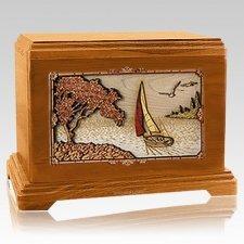 Sailboat Mahogany Hampton Cremation Urn