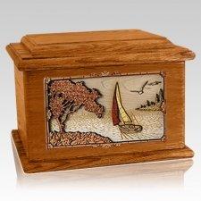 Sailboat Mahogany Memory Chest Cremation Urn