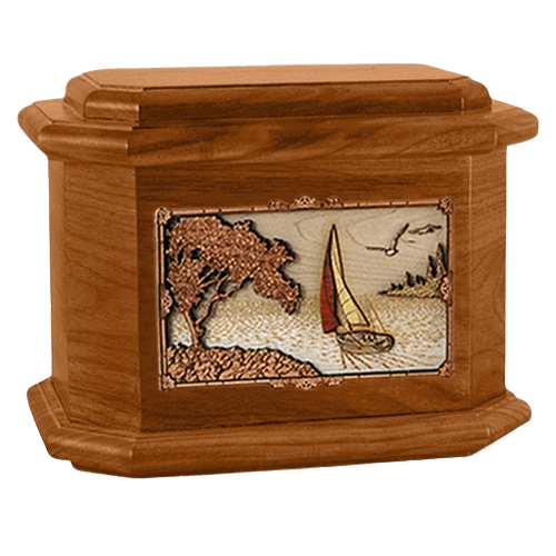 Sailboat Mahogany Octagon Cremation Urn