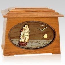 Sailing Home Mahogany Aristocrat Wood Cremation Urn