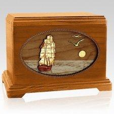 Sailing Home Mahogany Hampton Wood Cremation Urn