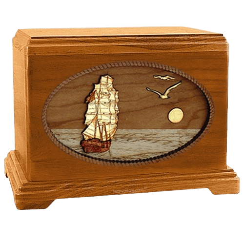 Sailing Home Mahogany Hampton Wood Cremation Urn
