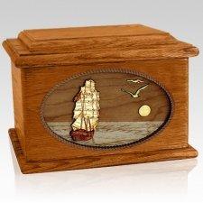 Sailing Home Mahogany Memory Chest Wood Cremation Urn