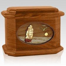 Sailing Home Mahogany Octagon Wood Cremation Urn