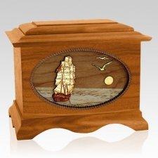 Sailing Home Mahogany Wood Cremation Urn