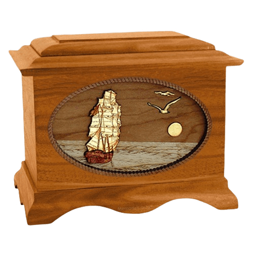 Sailing Home Mahogany Wood Cremation Urn