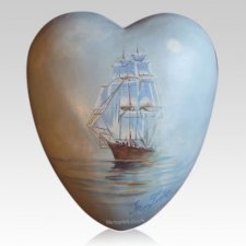 Sailship Ceramic Heart Urn