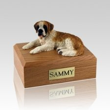 Saint Bernard Laying Large Dog Urn