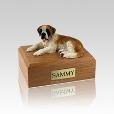 Saint Bernard Laying Small Dog Urn