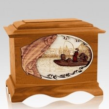 Salmon Fishing Mahogany Cremation Urn