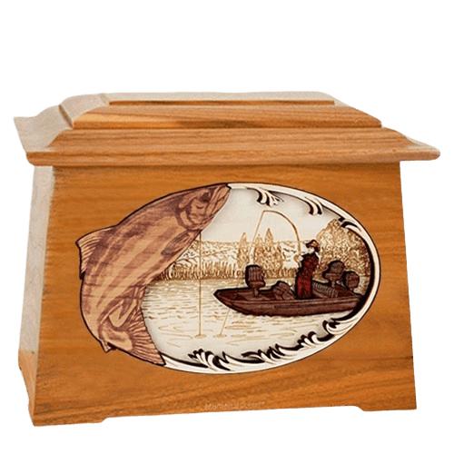 Salmon Fishing Mahogany Aristocrat Cremation Urn