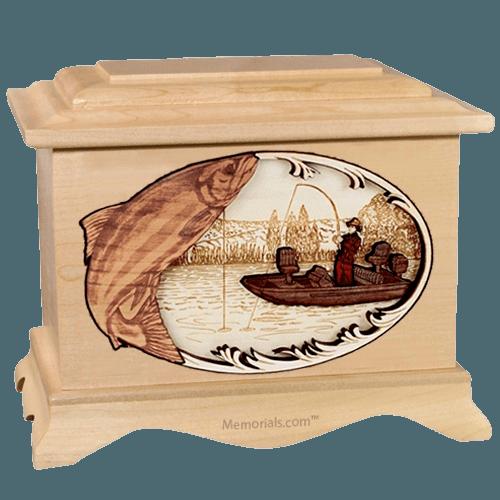 Salmon Fishing Maple Cremation Urn