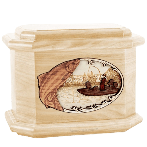 Salmon Fishing Maple Octagon Cremation Urn