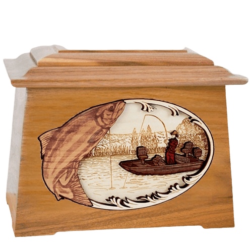 Salmon Fishing Oak Aristocrat Cremation Urn