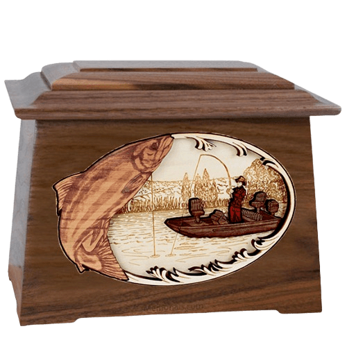 Salmon Fishing Walnut Aristocrat Cremation Urn