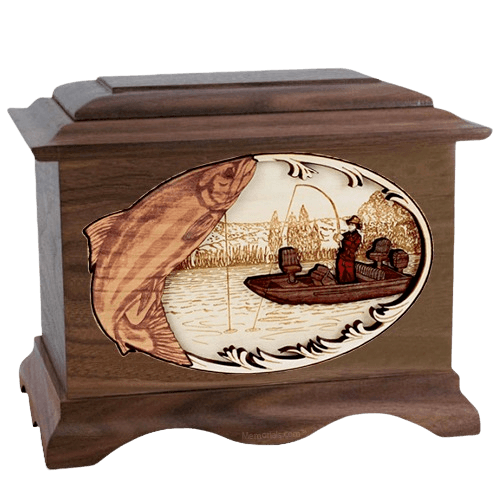 Salmon Fishing Wood Cremation Urns