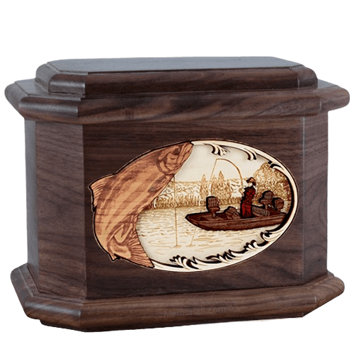 Salmon Fishing Walnut Octagon Cremation Urn