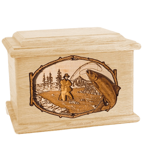 Salmon Stream Maple Memory Chest Cremation Urn