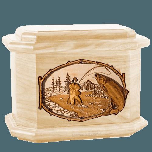 Salmon Stream Maple Octagon Cremation Urn