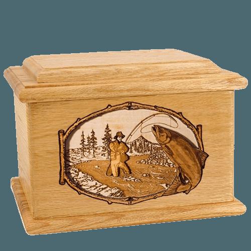 Salmon Stream Oak Memory Chest Cremation Urn