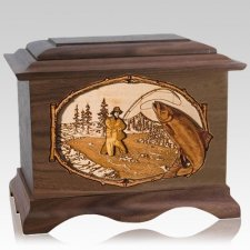 Salmon Stream Walnut Cremation Urn