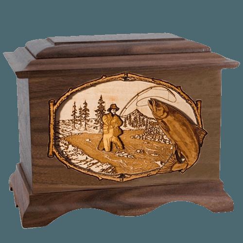 Salmon Stream Walnut Cremation Urn