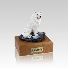Samoyed Sitting Small Dog Urn