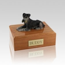 Schnauzer Black & Silver Laying Medium Dog Urn
