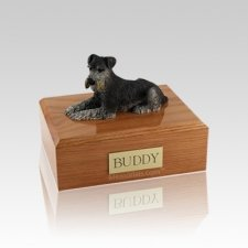 Schnauzer Black & Silver Laying Small Dog Urn