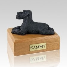 Schnauzer Black Ears Down Laying X Large Dog Urn