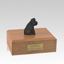 Schnauzer Black Ears Down Sitting Medium Dog Urn