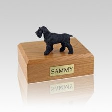 Schnauzer Black Ears Down Small Dog Urn