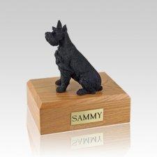 Schnauzer Black Ears Up Large Dog Urn