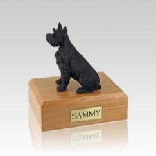 Schnauzer Black Ears Up Medium Dog Urn