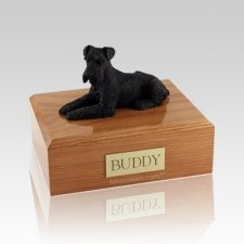 Schnauzer Black Laying Large Dog Urn