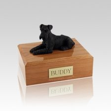 Schnauzer Black Laying Small Dog Urn