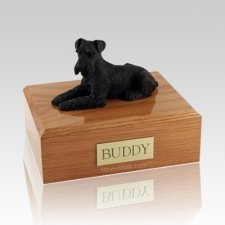Schnauzer Black Laying X Large Dog Urn