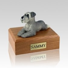 Schnauzer Gray Ears Down Laying Large Dog Urn