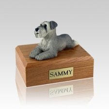 Schnauzer Gray Ears Down Laying Medium Dog Urn