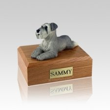 Schnauzer Gray Ears Down Laying Small Dog Urn