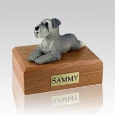 Schnauzer Gray Ears Down Laying X Large Dog Urn
